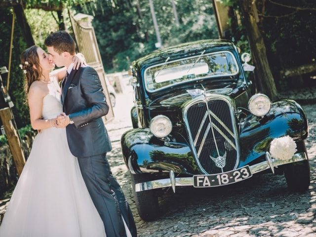 As fotos com o carro dos noivos
