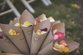 Cones de papel para o casamento