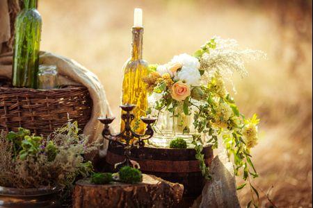 Decoração de casamento com garrafas de vidro