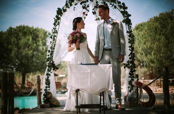O casamento do Brett e da Fábia: ambiente campestre e íntimo na Comporta