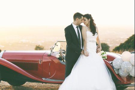 A decoração do carro de casamento