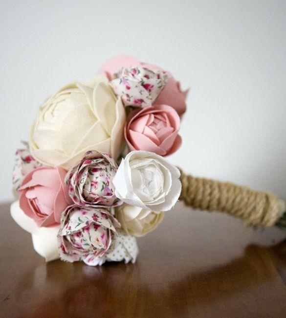 Bouquet tecido tons rosa