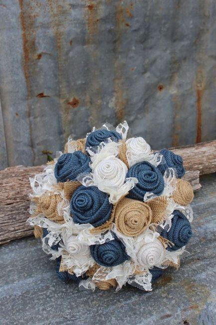 Bouquet tecido pormenor azul
