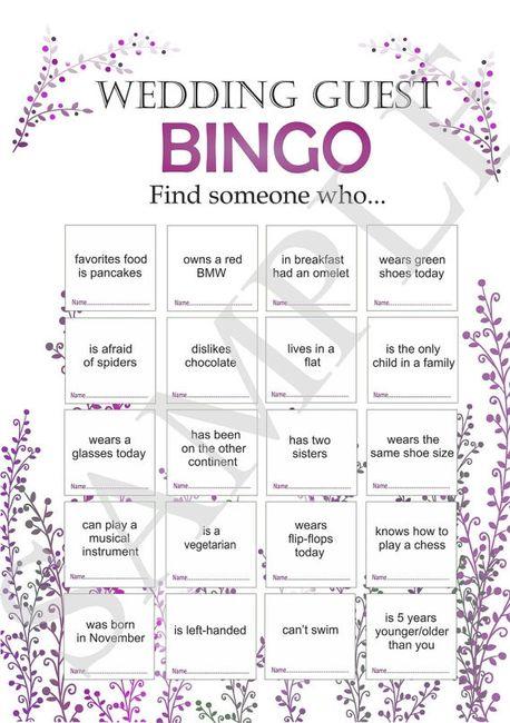 Bingo para os convidados