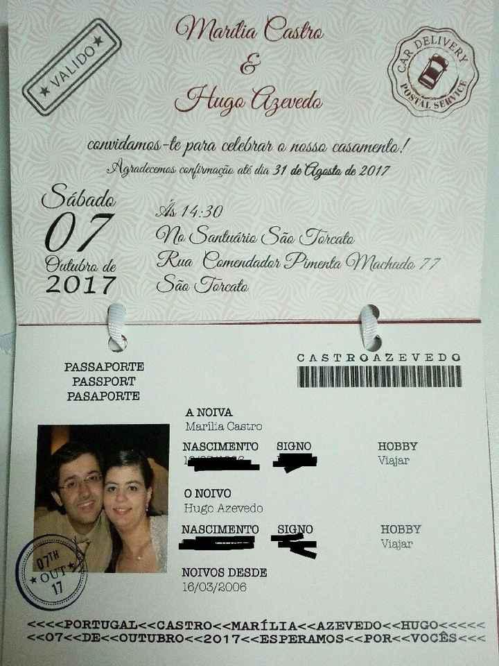 Convites casamento tema viagens - 2