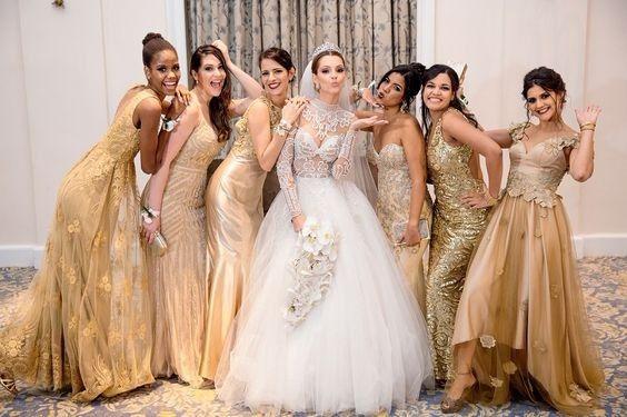 Vestidos de damas de honor para o mês dourado 4
