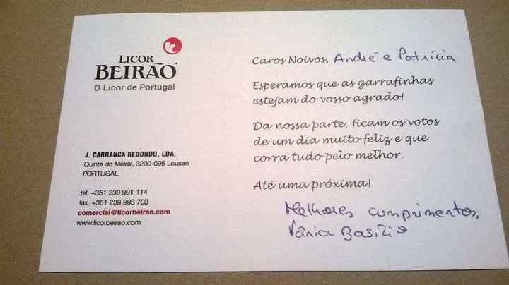Cartão de agradecimento - Miniaturas de Licor Beirão