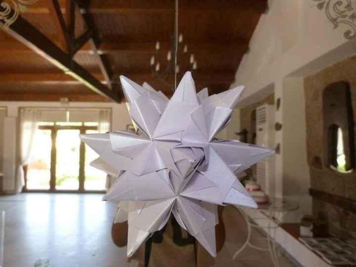 Icosaedro Estrelado em origami - decoração das mesas
