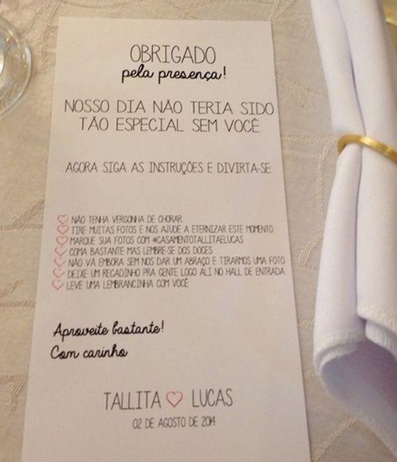 Instruções para mesa dos convidados 1