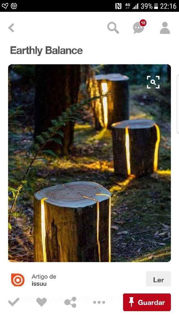 Iluminação tronco madeira check - 1