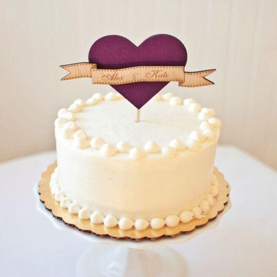 Wedding Cake Decorated With Hearts : Ideias para topos de bolo - diy