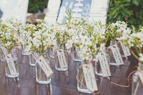 Frasquinhos com flores - se calhar com flores iguais à decoração