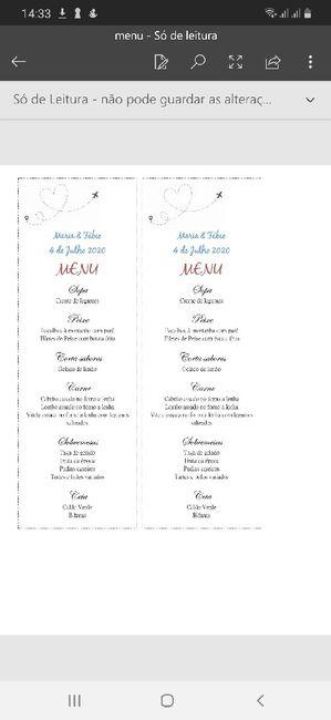 Opinião acerca do menu 1