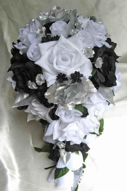 Bouquet prata branco e preto