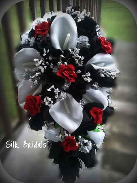 Bouquet preto branco e vermelho