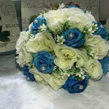 Vestido de noiva azul turquesa - 1