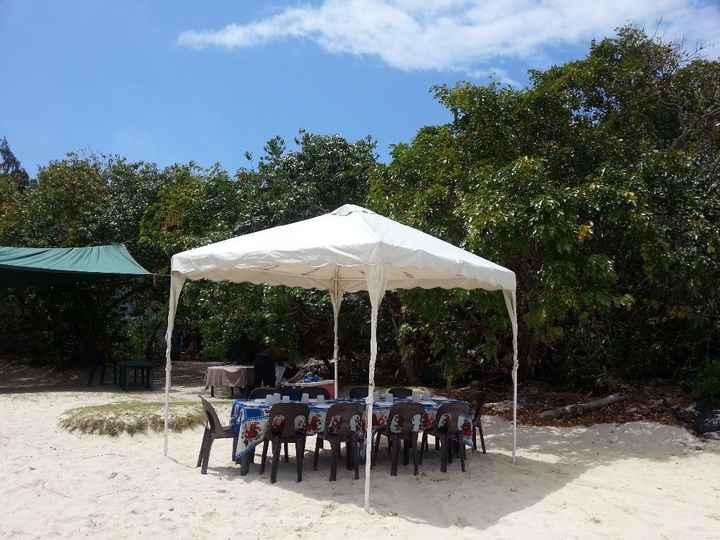 O local do almoço - Ilha deserta