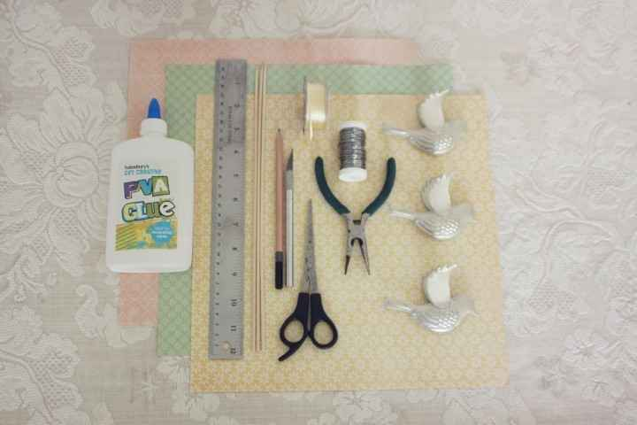 material birdcage papel