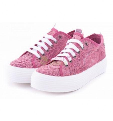 Sapatilhas rosa/renda