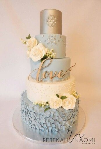 baby blue and silver wedding cakes paleta de cores azul e cinza 10993