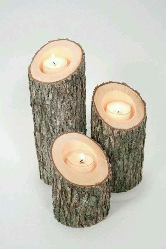 Centros de mesa com base em tronco de madeira. - 9