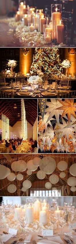 Para um casamento de Natal um ambiente mágico e muita luz não podem faltar