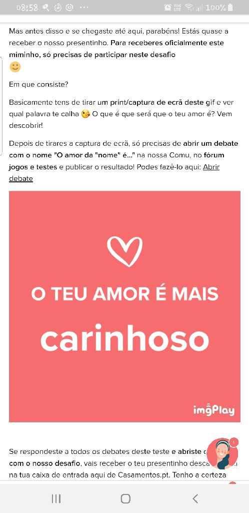 O teu amor é mais.... DESAFIO! - 1