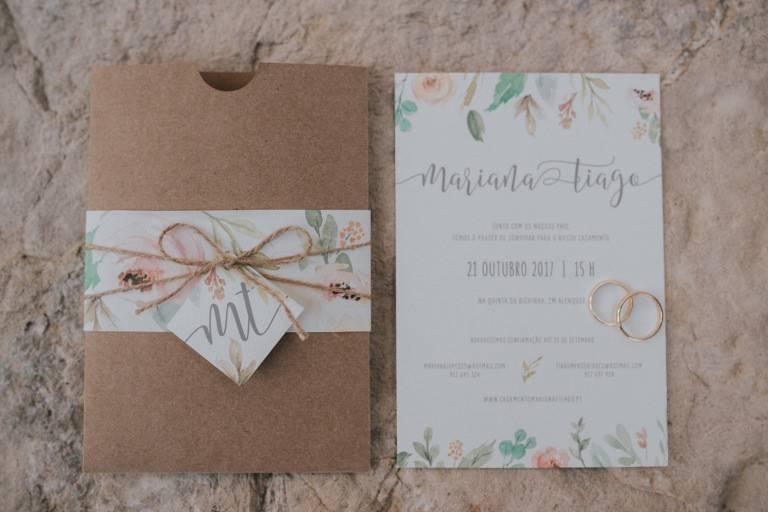 Convite com envelope luva